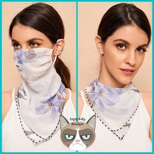 Clematis Flower Floral Mask Scarf